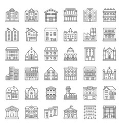 building construction outline icon set 13 vector image