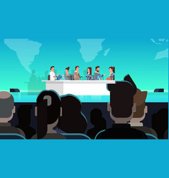 business conference public debate interview vector image