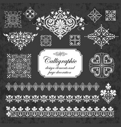 calligraphic elements for design on chalkboard vector image