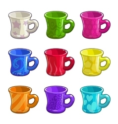 Cartoon colorful bright tea cups vector image