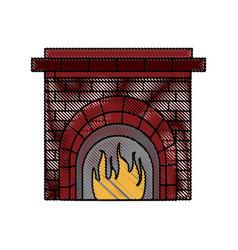 Christmas chimney flame frame brick decoration vector