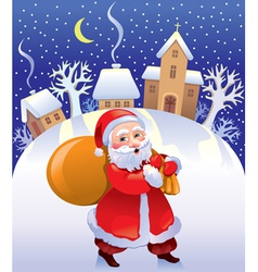 Christmas Santa with bag of gifts vector image