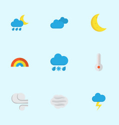 Climate flat icons set collection of hailstones vector