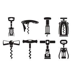 corkscrew opener icon set simple style vector image
