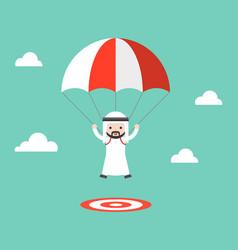 Cute arab saudi guy parachuting in sky landing vector