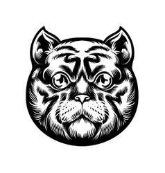 cute cat head mascot silhouette vector image