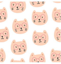 cute cats in glasses seamless pattern vector image