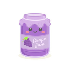 cute grape jelly jam bottle jar cartoon vector image