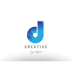D blue gradient alphabet letter logo icon design vector