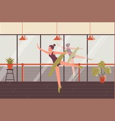 Dancing woman ballerina poses choreography dance vector