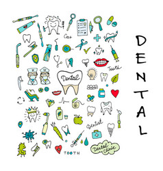 dental clinic icons set sketch for your design vector image