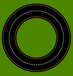 Empty circle track racetrack with 2 lanes vector