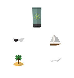 flat icon beach set of deck chair spectacles vector image