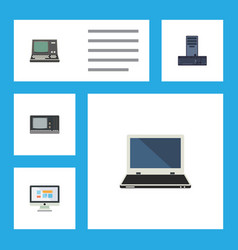 flat icon laptop set of notebook technology vector image