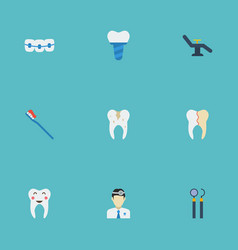 Flat icons dentition treatment orthodontist and vector