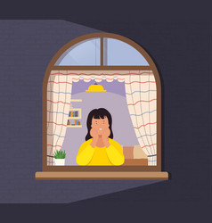 girl looks out window from apartment concept of vector image