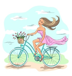Girl on the bike vector image