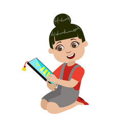 girl reading text from screen of tablet part of vector image