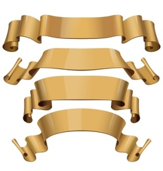 Gold Glossy ribbons on a white background vector image