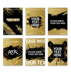 golden posters with grunge text and gold frames vector image