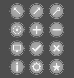Gray icons set vector
