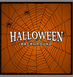 halloween background with web of spider vector image