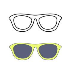 Hand drawn glasses outline set vector