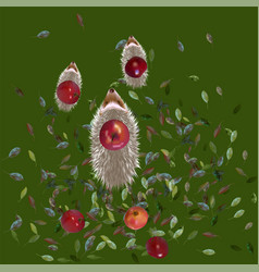 Hedgehogs and apples vector