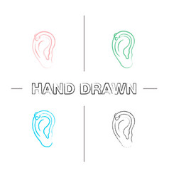 helix piercing hoop hand drawn icons set vector image