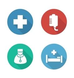 Hospital flat design icons set vector image