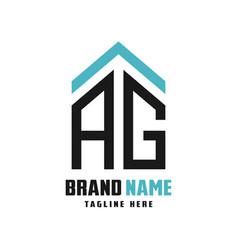 House logo design letters ag vector
