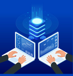 isometric female and male hands using a laptops vector image