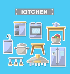 Kitchen furniture icon set in flat style vector