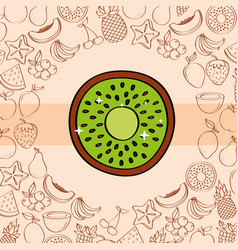 kiwi fruits nutrition background pattern drawing vector image