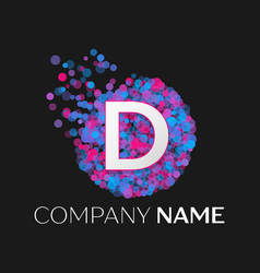 letter d logo with blue purple pink particles vector image