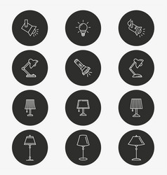 lighting icon set round vector image