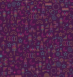 Line art outline seamless pattern color elements vector