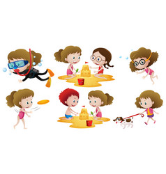 Little girl doing different actions with friends vector