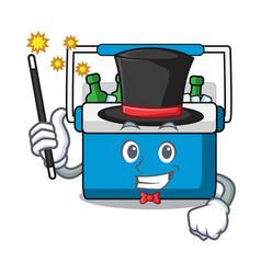 Magician freezer bag mascot cartoon vector
