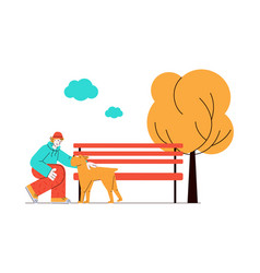 Man and dog together in nature - cartoon pet owner vector
