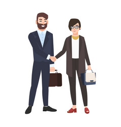 Man and woman or office workers shaking hands vector