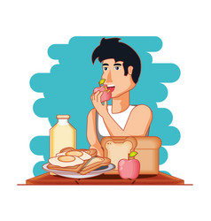 man athlete eating healthy food vector image