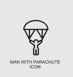 Man with parachute icon vector