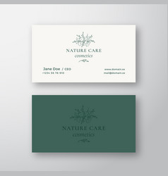 nature care cosmetics sign or logo and vector image