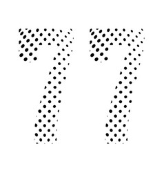 Number seventy-seven 77 in halftone dotted vector