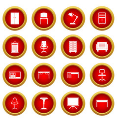 Office furniture icon red circle set vector