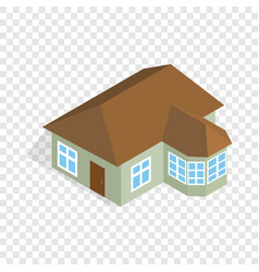 One storey house with veranda isometric icon vector