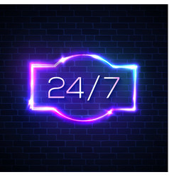 open sign 24 7 hours neon round the clock frame vector image