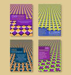 Optical illusion colorful covers templates vector