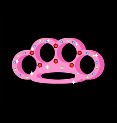 Pink brass knuckle with diamonds female weapons vector